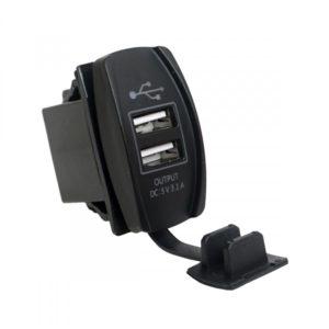 Разъем USB гнездо 2xUSB герм. 12-24V 3,1A (SKU-GH8)
