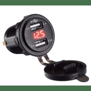 Разъем USB гнездо 2xUSB герм. 12-24V с вольтметром (SKU-T80)